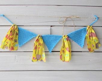 Umbrella Nursery Banner Little Birdie High Chair Banner Photo Back Drop Prop Bunting Decoration Crocheted Triange Banner