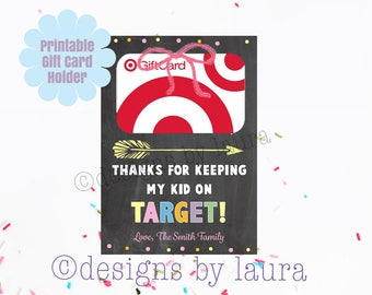 Teacher Gift Card Holder-Thanks for Keeping my kid on Target-Teacher Appreciation-Gift for Teacher
