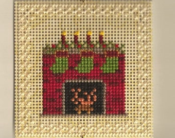 Fireplace Christmas Tree Ornament - Counted Cross Stitch Chart - PDF Instant Download