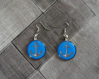 earring blue anchor
