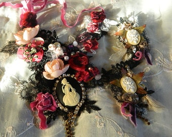 Gothic victorian necklace, ornated, embellished and embroidered