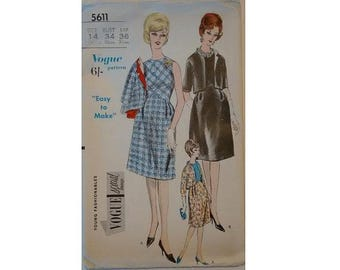 "UNUSED Vogue #5611 Young Fashionables Special Design Vintage 60's Day Evening Cocktail Dress and Jacket Sewing Pattern Bust 34"" UK 12"