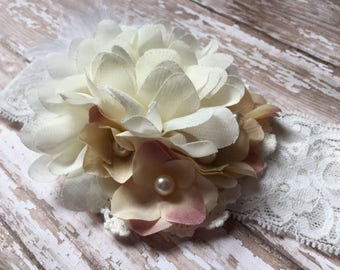 Cream vintage look baby headband, mauve and cream accent flowers with pearl centers, feather accent, shabby chic flower, lace baby headband