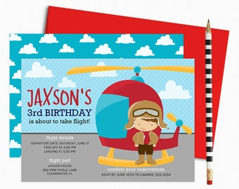 Helicopter Invitation, Helicopter Birthday Invitation, Helicopter Invite, Helicopter Party Invitation, Helicopter Theme, Helicopter | 262