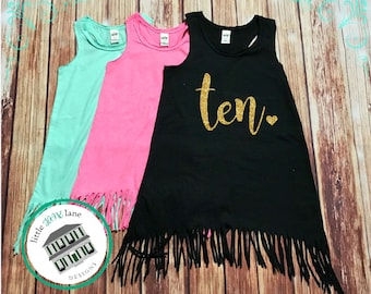 Ten Year Old | Fringe Dress | Fringe Tank | 10th Birthday | Youth | Birthday Dress | Girl Fringe | Glitter | Tenth Birthday | Double Digits