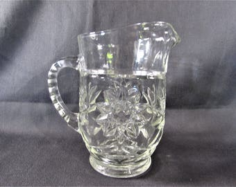 Early American Prescut Pint Pitcher Clear Glass Anchor Hocking