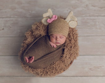 Baby Deer Hat Only / Newborn Photo Prop / Sitter Session / Newborn - 24 Months **MADE TO ORDER**