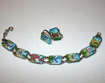 Vintage Hand Painted Bracelet and Earrings Set