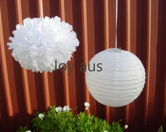 White Paper Pom Poms & Lanterns for Wedding Engagement Anniversary Birthday Party Bridal Baby Shower Decoration