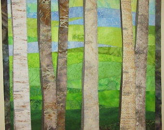 Art Quilt Birch Trees in Spring, Wall Quilt, Wall Hanging, Landscape quilt