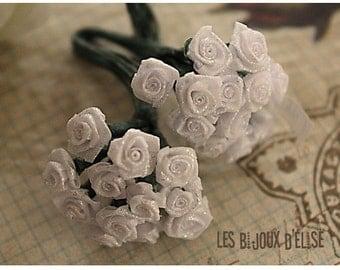 Sale 50% - 12 pcs Shiny White Rose Bouquet 8mm (Bouquet002)