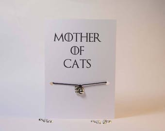 Cat bracelet - Cat jewelry - Crazy cat lady card - Silver cat charm bracelet - Silver cat charm - Cat bracelets for women - Cat lover gift