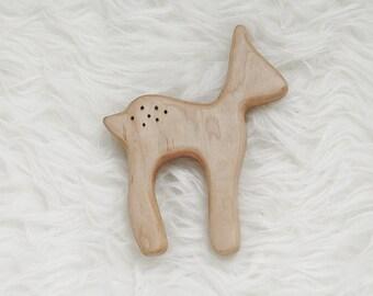 Deer Teething Toy - Deer Teether - Wood Teether Toy  - Baby Shower Gift - Gender Neutral Baby Gift - Woodland Baby - Baby Gift