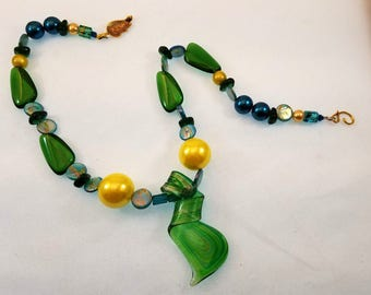 Spring Welcome Necklace = Czech Glass Beads w/Shell Beading 19 Inches Long in Green, Blue, Yellow and Brass