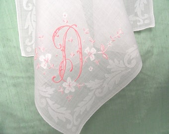 Monogram D embroidered handkerchief / vintage pink hankie / initial D, letter D