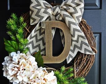 Rustic Year Round Wreath, Farmhouse Wreath, Barnwood Letter Wreath, Christmas Gift Wreath, Monogram Wreath, Greenery Wreath, Ivory Hydrangea