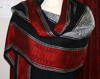 Ladies Shawl, Tencel, Unique, Intricate, Striped, Handwoven, OOAK