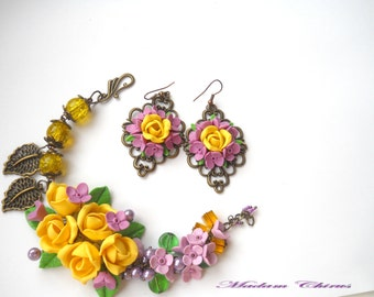Lilac bracelet, and earrings, yellow bracelet, with spring flowers, spring, for her, gift