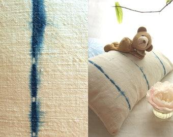 Antique French linen pillow, lumbar pillow hand dyed with natural indigo, shibori tie dye, textured boho cushion cover, grain sack pillow