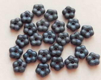 20  Dark Ink Blue Satin Flower Czech Glass Beads  5.5mm