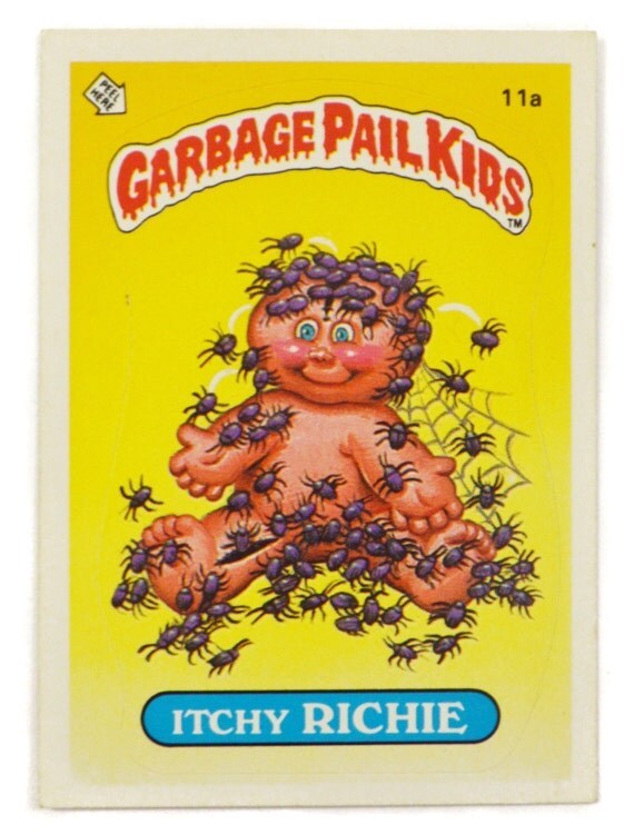Vintage 80s Garbage Pail Kids Itchy Richie 11a Series 1 Collectible Glossy Back Trading Card Sticker