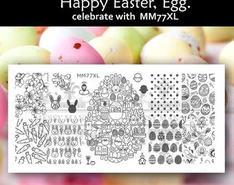 Nail Art Stamping Image Plate MM77XL - Easter Bunny Rabbit Theme