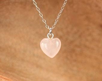Rose quartz necklace - heart necklace - anniversary gift - pink crystal necklace - crystal heart necklace