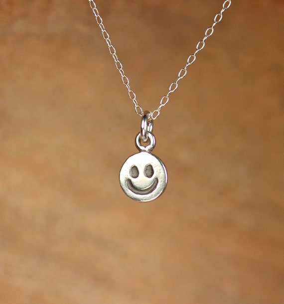 Happy face necklace - smiley face necklace - sterling silver happy face - emoji necklace - a silver happy charm on a sterling silver chain