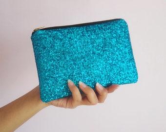 Aqua Blue Glitter Makeup Bag, Sparkly Blue Cosmetic Bag, Mini Glitter Clutch Bag, Gold YKK Zip,