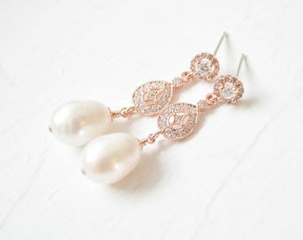 Bridal Earrings Rose Gold, Pearl Wedding Earrings Rose Gold, Pearl Rose Gold Drop Earrings
