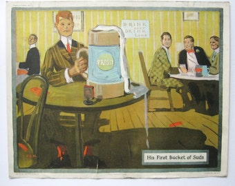 His First Bucket of Suds - Vintage Beer Advertising Art - 20x16 Lithograph Print Ad - Beer Pub Wall Decor - 1910 Edwardian Men in Suits