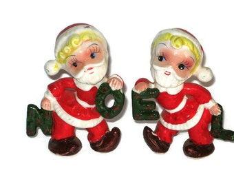 Vintage Christmas Pixie Elf Santa Claus NOEL  Salt & Pepper Shakers Figurine Tilso Ornament Decoration Japan Ceramic Figure