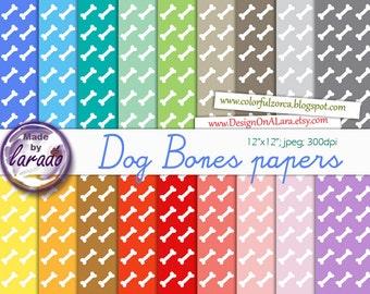 Dog Bones Digital Paper Pack, Dog bone papers, Animal dog papers, Colorful Dog Bone Paper Pack, Animals papers, White bones colorful papers