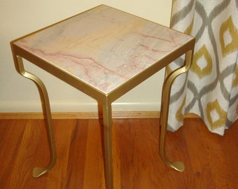 SOLD Upcycled Vintage Metal Accent Table with Drop In Marble Top