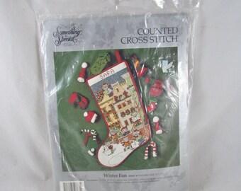 Winter Fun Counted Cross Stitch Stocking Kit VTG 1992 New Unused