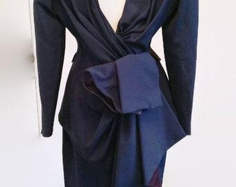 Thierry Mugler jacket, backless jacket, bustle jacket, Mugler skirt, mugler suit,  Mugler size small, UK 10, US 6, vintage Mugler, blue suit