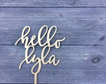 """Personalize Hello Name Cake Topper, 5"""" inches, Custom Cake Topper, Baby Shower Topper, Birthday Cake Topper, Laser Cut by Ngo Creations"""