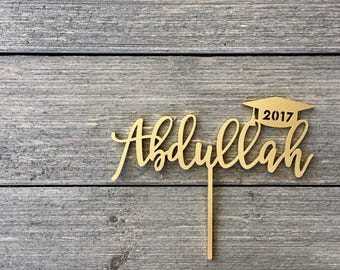 "Graduation Cap Name Cake Topper 7"" inches, Name Cake Topper, Custom Cake Topper, Personalized Cake Topper, Graduation Cake Topper, Wood"