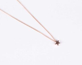 Set Rose Gold Plated Bracelet And Necklace Star Rose Golden Starlet Star Bracelet And Star Rosegolden Necklace