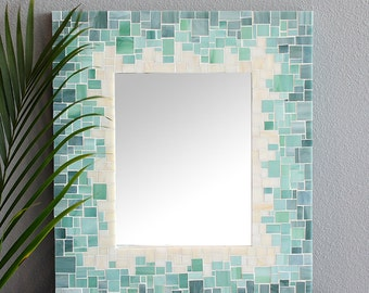Mosaic Gradient Tile Mirror for Beach Theme Décor with Blue, Sea Green and Beige Glass Tiles – 4 Sizes Available