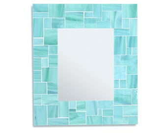 Sea Green Mirror – Mosaic Tile Decorative Mirror for Beach House Decor in 4 Sizes