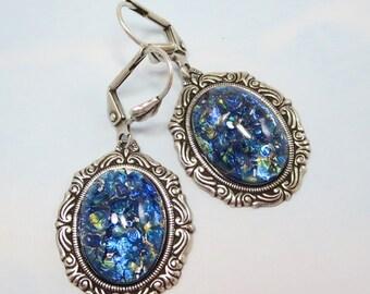 Sea Blue Fire Opal Earrings Dangles Blue Opal Jewelry Fantasy Mystical