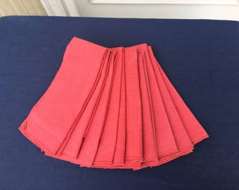 10 Coral linen vintage napkins dining dusty coral