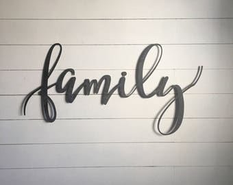 "Family  43""x18"" metal word sign - gallery wall sign steel sign"