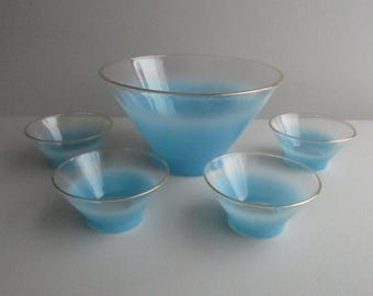 Skye Blue  Frosted Blendo Bowl with 4  Side Bowls by West Virginia Glass Co. 1950's/60's