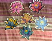Hand Drawn OOAK Lotus Stickers