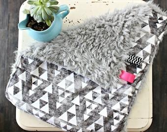 Aztec Blanket - Aztec Baby Blanket - Faux Fur Baby Blanket - Modern Girl Blanket - Fluffy Baby Blanket - Security Blanket - Triangle Blanket