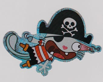Happy Tree Friends RUSSELL Sticker - Licensed Collectible HTF Russell Pirate Glitter Sticker - Mondo Media - Cuddly and Horribly Wrong