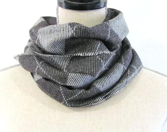 Wool Blend Scarf Grey Plaid Warm Wrap