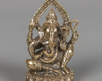 """Thailand Brass Seated Ganesha Statue - Remover of Obstacles - 6.5cm(2.5"""")"""